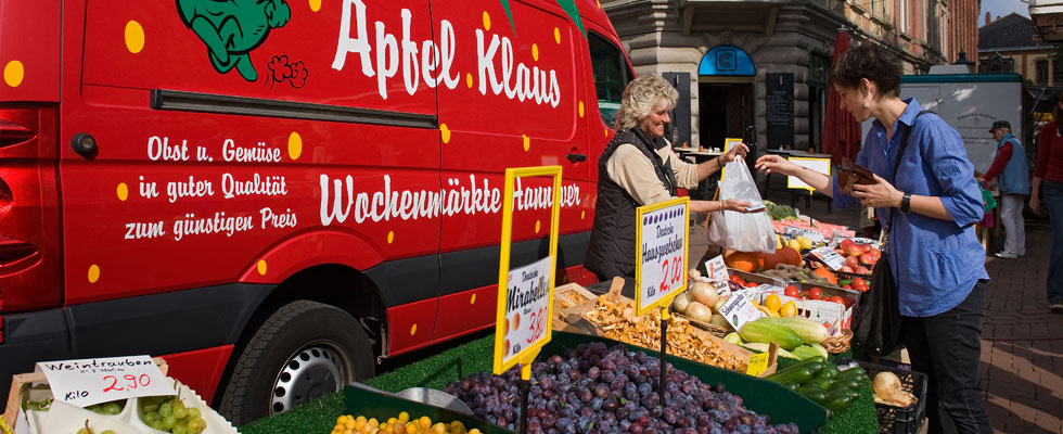 Foto van de markt op de Lindener Platz - Foto door Martin Kirchner