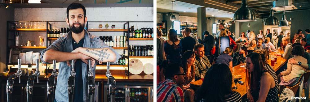 Foto van een bar in Belfast en een foto van de bar Brewbot in Belfast.