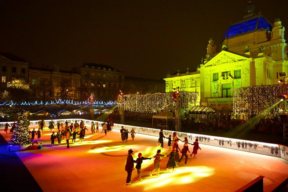 Schaatsbaan kerst Zagreb - beeld: Martijn Senders