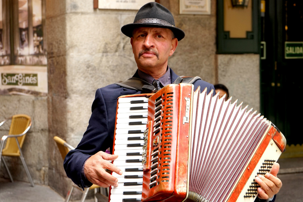 Straatmuzikanten in Madrid - beeld: Jessica Lokker