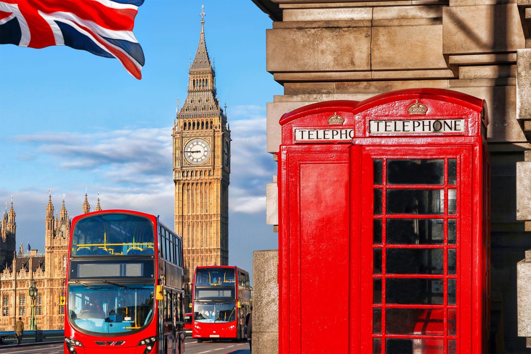 Londen straatbeeld rode bus Big Ben