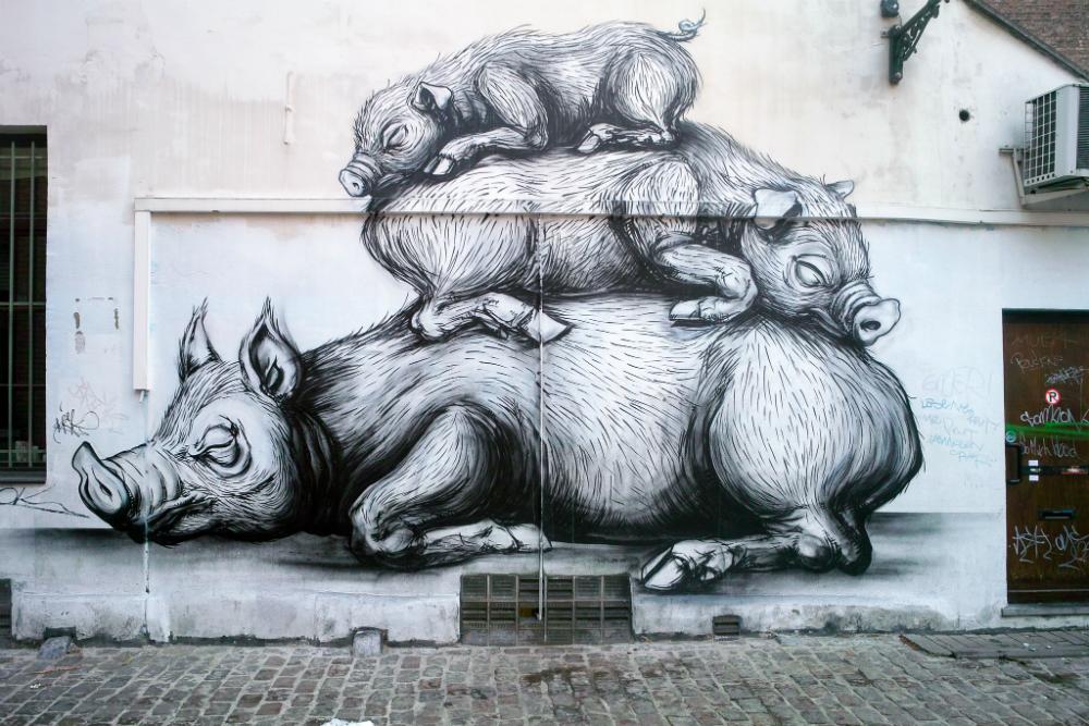 Street Art in Brussel. Beeld: William Murphy (Flickr)